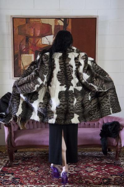 White Fur Stole >> Vintage marbled Geoffrey cat fur coat - Sybergoth Vintage Furs | Jewellery | Couture | Australia