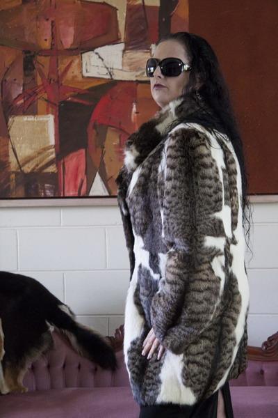 Vintage Marbled Geoffrey Cat Fur Coat Sybergoth Vintage